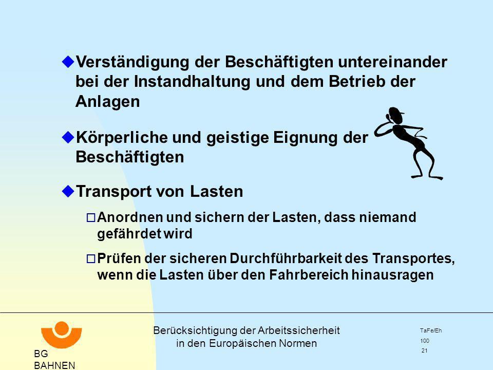 BG BAHNEN Berücksichtigung der Arbeitssicherheit in den Europäischen Normen TaFe/Eh 100 21 u Verständigung der Beschäftigten untereinander bei der Ins