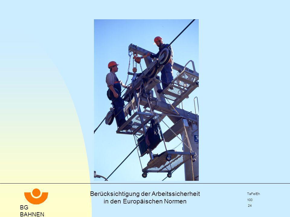 BG BAHNEN Berücksichtigung der Arbeitssicherheit in den Europäischen Normen TaFe/Eh 100 24