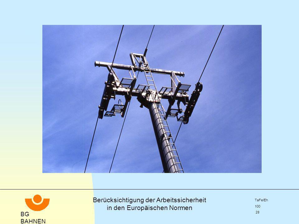 BG BAHNEN Berücksichtigung der Arbeitssicherheit in den Europäischen Normen TaFe/Eh 100 28