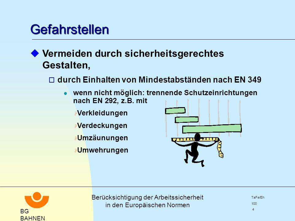 BG BAHNEN Berücksichtigung der Arbeitssicherheit in den Europäischen Normen TaFe/Eh 100 4 Gefahrstellen uVermeiden durch sicherheitsgerechtes Gestalte