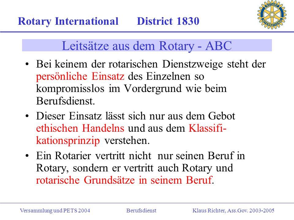 Rotary International District 1830 Versammlung und PETS 2004 Berufsdienst Klaus Richter, Ass.Gov.