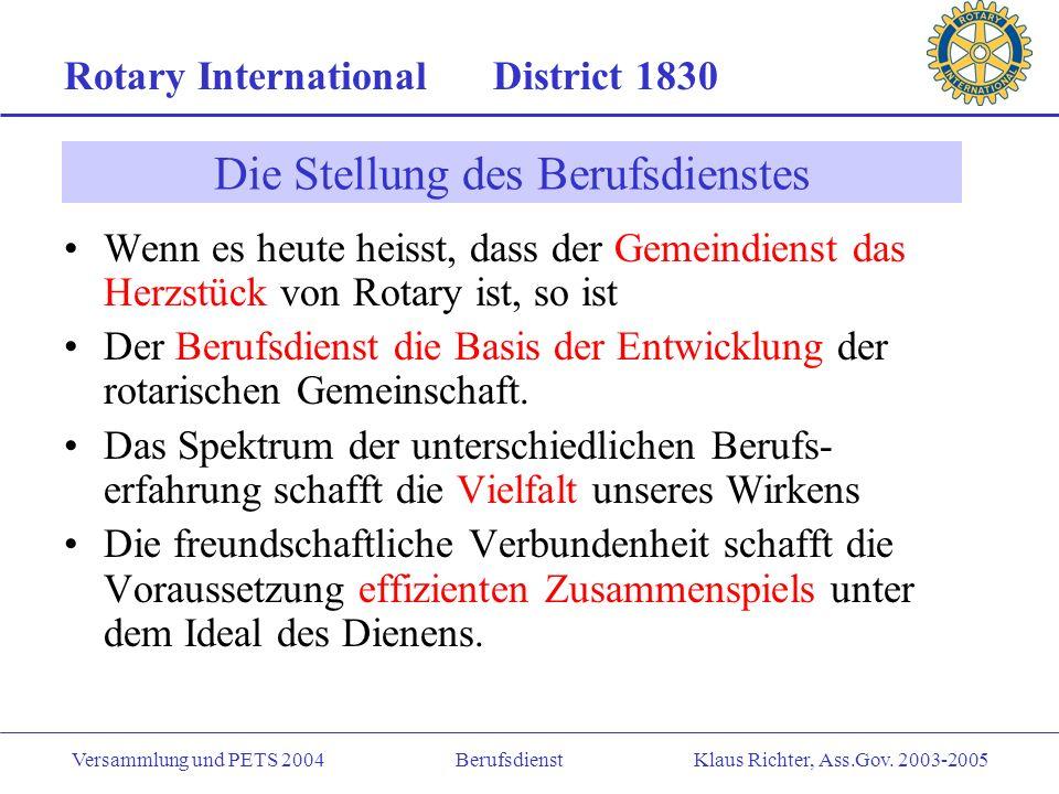 Rotary International District 1830 Versammlung und PETS 2004 Berufsdienst Klaus Richter, Ass.Gov. 2003-2005 Präsident Sekretär/Berichterst. Schatzmeis