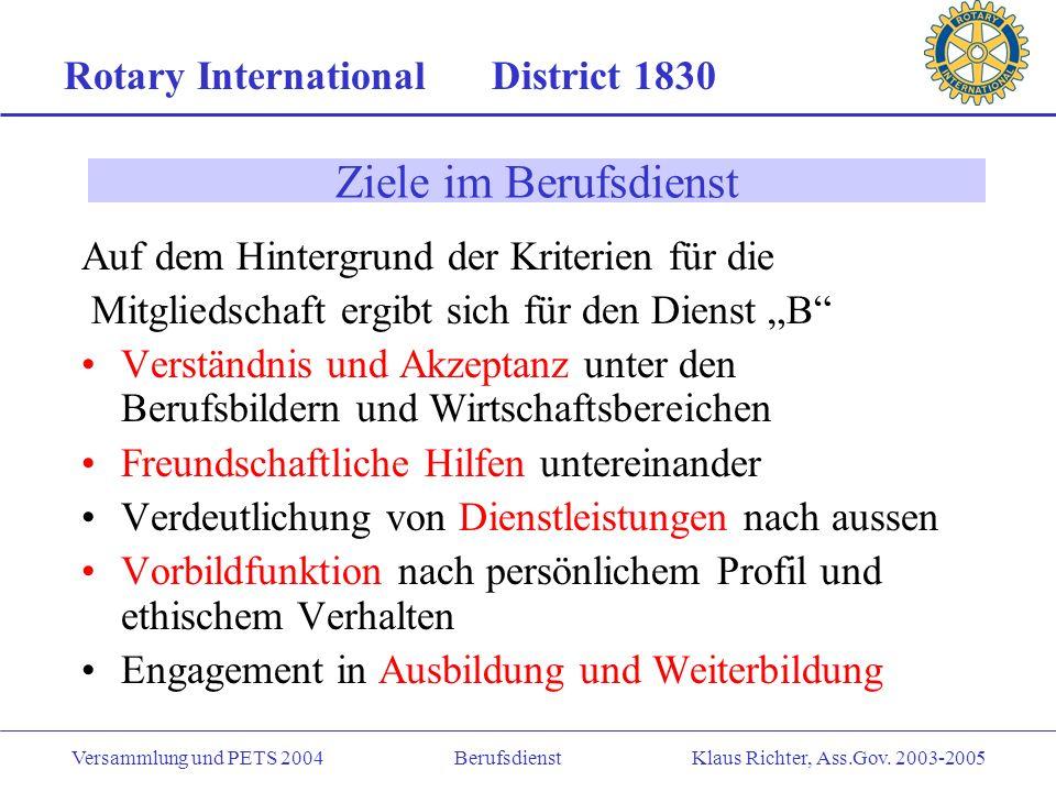 Rotary International District 1830 Versammlung und PETS 2004 Berufsdienst Klaus Richter, Ass.Gov. 2003-2005 Was heisst hohe ethische Ziele Die vier Fr