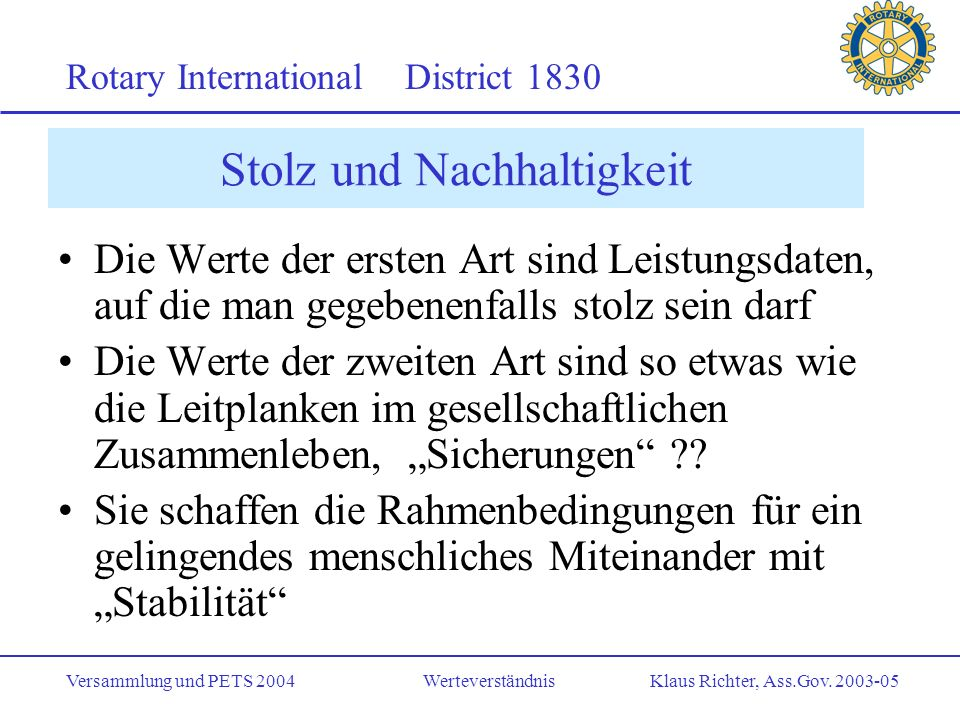Rotary International District 1830 Versammlung und PETS 2004 Werteverständnis Klaus Richter, Ass.Gov.