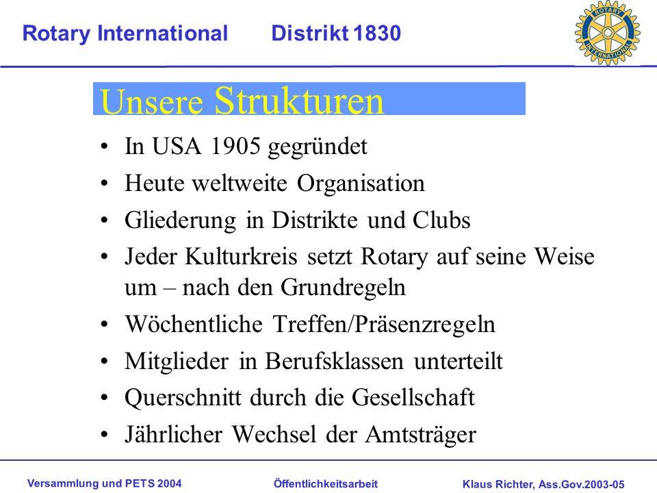 Versammlung und PETS 2004 Öffentlichkeitsarbeit Klaus Richter, Ass.Gov.2003-05 Rotary International Distrikt 1830 Wer wird Rotarier Aufgrund des trage