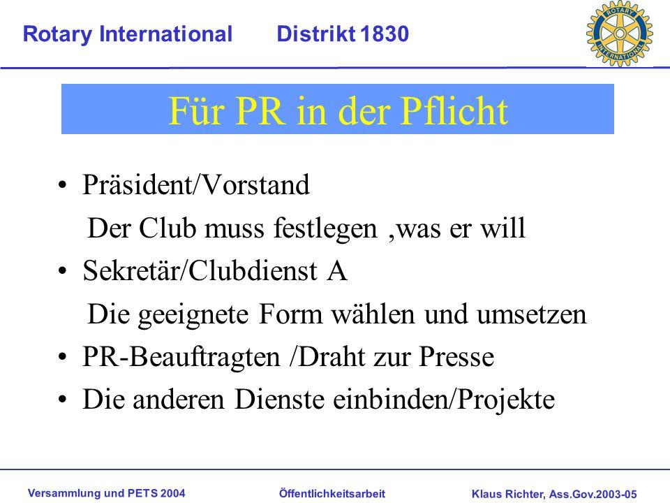 Versammlung und PETS 2004 Öffentlichkeitsarbeit Klaus Richter, Ass.Gov.2003-05 Rotary International Distrikt 1830 Unsere Strukturen In USA 1905 gegrün