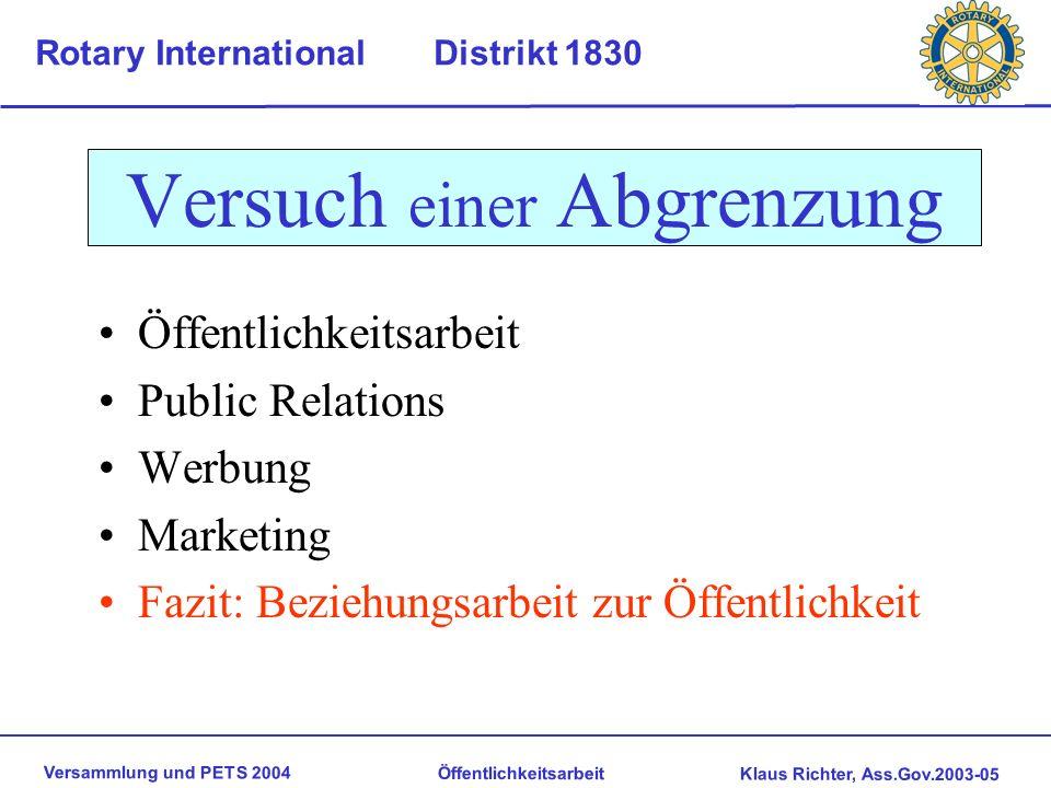Versammlung und PETS 2004 Öffentlichkeitsarbeit Klaus Richter, Ass.Gov.2003-05 Rotary International Distrikt 1830 Versammlung und PETS 2004 Neckarwest