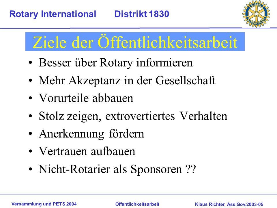 Versammlung und PETS 2004 Öffentlichkeitsarbeit Klaus Richter, Ass.Gov.2003-05 Rotary International Distrikt 1830 Versuch einer Abgrenzung Öffentlichk