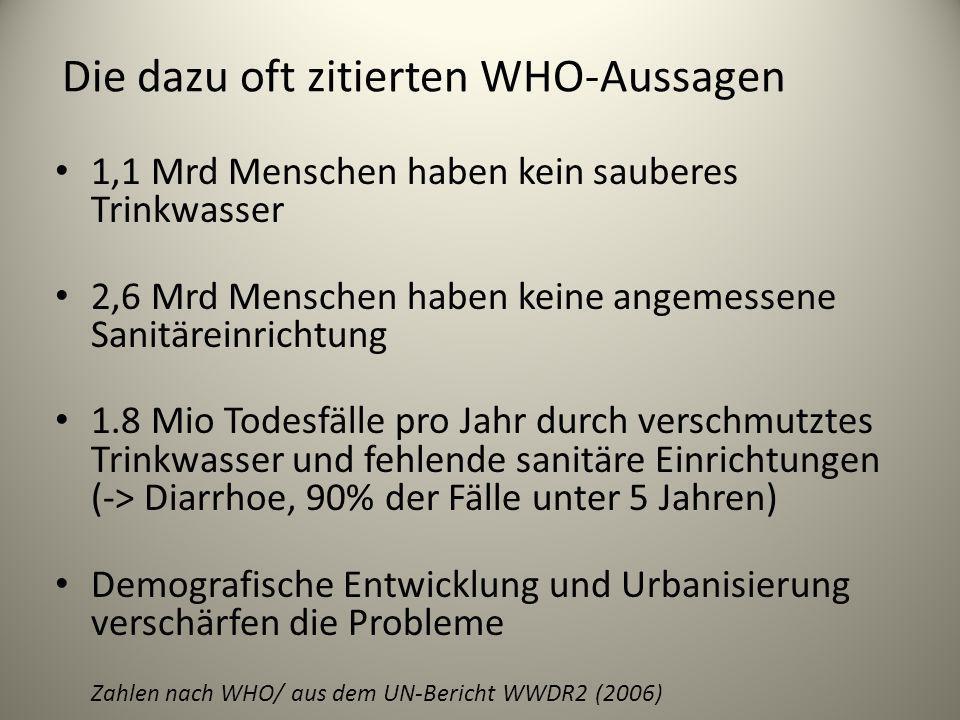 Die dazu oft zitierten WHO-Aussagen 1,1 Mrd Menschen haben kein sauberes Trinkwasser 2,6 Mrd Menschen haben keine angemessene Sanitäreinrichtung 1.8 M