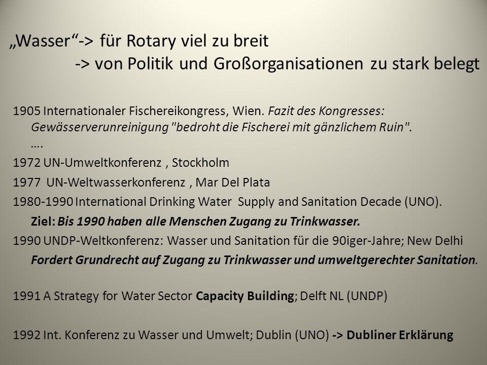 Wasser-> für Rotary viel zu breit -> von Politik und Großorganisationen zu stark belegt 1905 Internationaler Fischereikongress, Wien. Fazit des Kongre