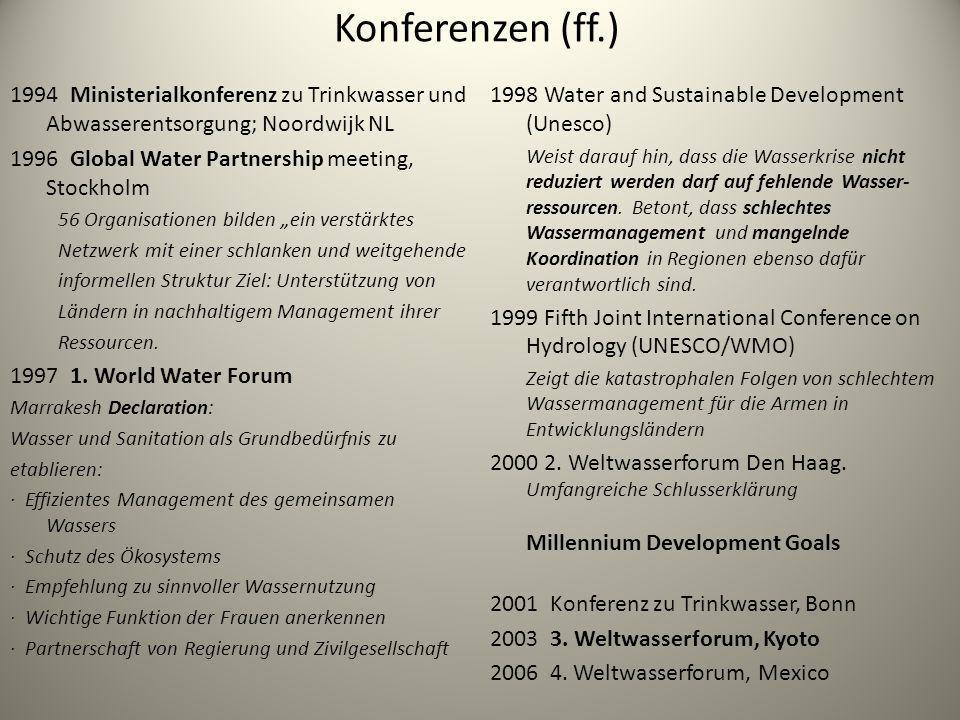 Konferenzen (ff.) 1994 Ministerialkonferenz zu Trinkwasser und Abwasserentsorgung; Noordwijk NL 1996 Global Water Partnership meeting, Stockholm 56 Or