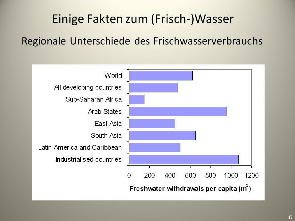 6 Einige Fakten zum (Frisch-)Wasser 6 Regionale Unterschiede des Frischwasserverbrauchs