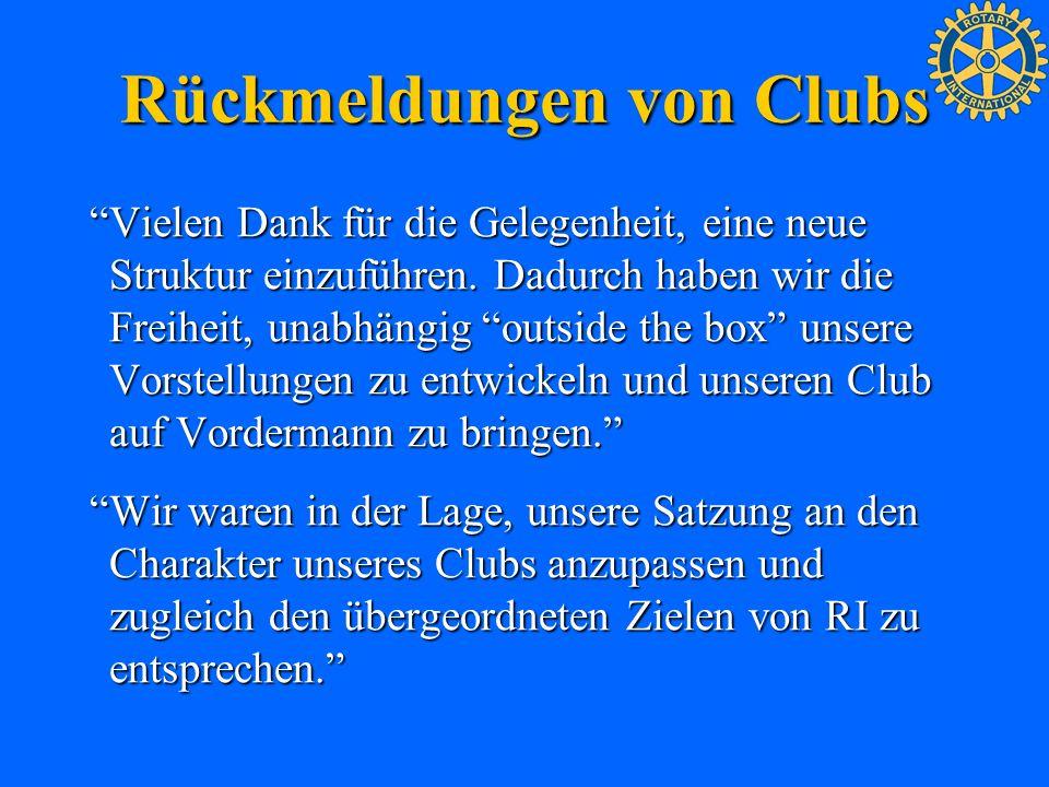 Rückmeldungen von Clubs Vielen Dank für die Gelegenheit, eine neue Struktur einzuführen. Dadurch haben wir die Freiheit, unabhängig outside the box un