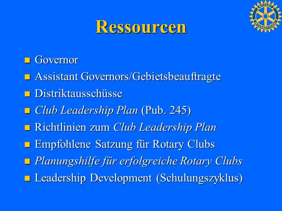 Ressourcen Governor Governor Assistant Governors/Gebietsbeauftragte Assistant Governors/Gebietsbeauftragte Distriktausschüsse Distriktausschüsse Club