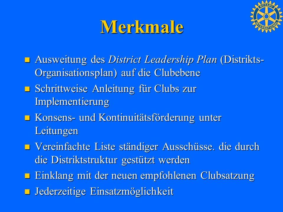 Merkmale Ausweitung des District Leadership Plan (Distrikts- Organisationsplan) auf die Clubebene Ausweitung des District Leadership Plan (Distrikts-