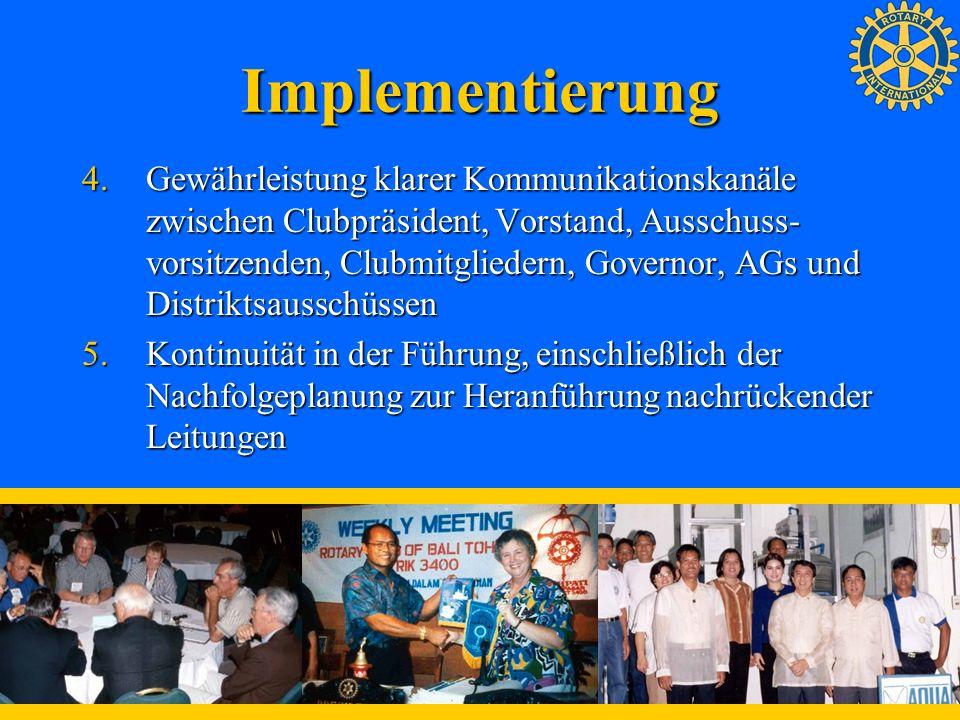Implementierung 4.Gewährleistung klarer Kommunikationskanäle zwischen Clubpräsident, Vorstand, Ausschuss- vorsitzenden, Clubmitgliedern, Governor, AGs
