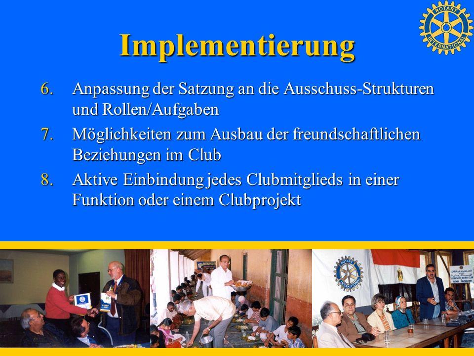 Implementierung 6.Anpassung der Satzung an die Ausschuss-Strukturen und Rollen/Aufgaben 7.Möglichkeiten zum Ausbau der freundschaftlichen Beziehungen