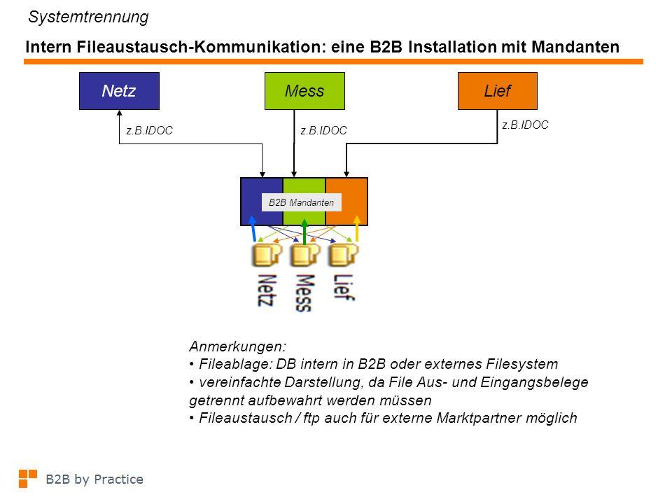 Beispiel für kombiniertes Szenario: Intern DB-basierter Fileaustausch, extern Email z.B.IDOC NetzMessLief z.B.IDOC B2B Mandanten NetzMessLief Mailserver Anmerkungen: vereinfachte Darstellung, da File Aus- und Eingangs- belege getrennt aufbewahrt werden müssen Fileaustausch / ftp auch für externe Marktpartner möglich gestrichelte Linien: externer Email Verkehr Systemtrennung eine B2B Installation mit Mandanten