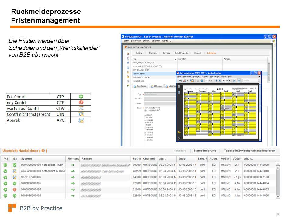 9 Rückmeldeprozesse Fristenmanagement Die Fristen werden über Scheduler und den Werkskalender von B2B überwacht