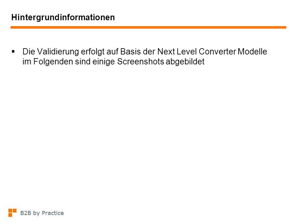 Hintergrundinformationen Die Validierung erfolgt auf Basis der Next Level Converter Modelle im Folgenden sind einige Screenshots abgebildet