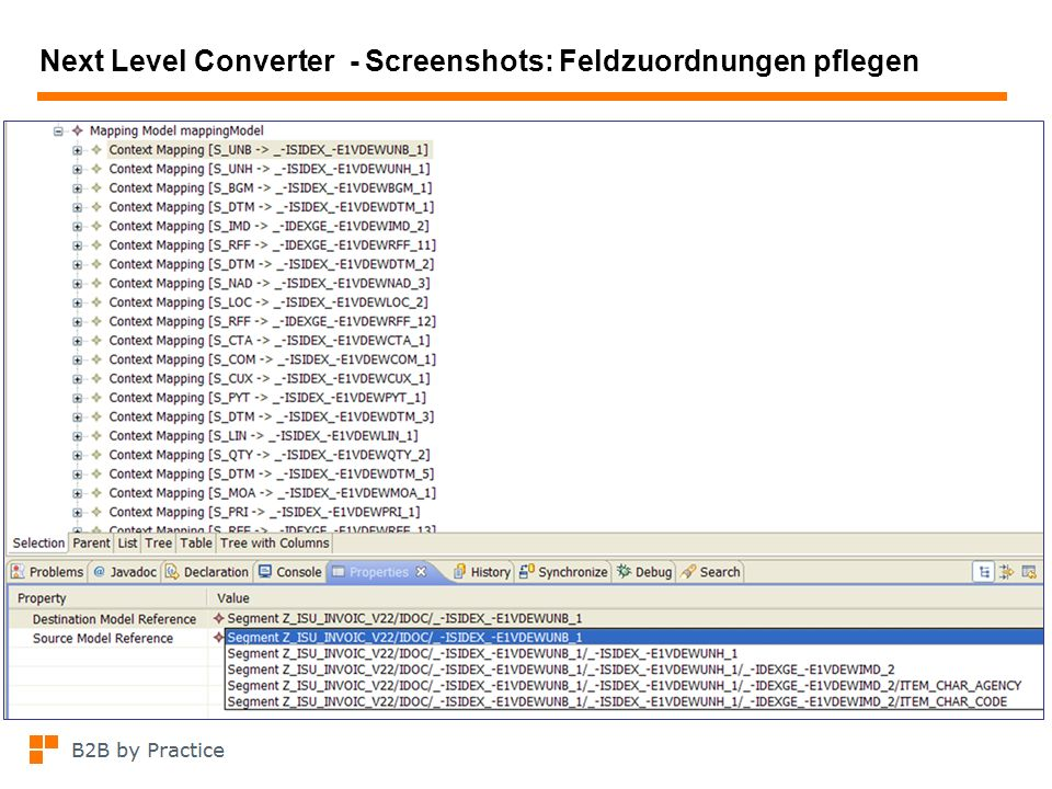 Next Level Converter - Screenshots: Feldzuordnungen pflegen