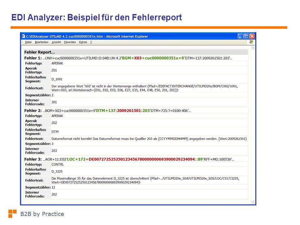 EDI Analyzer: Beispiel für den Fehlerreport