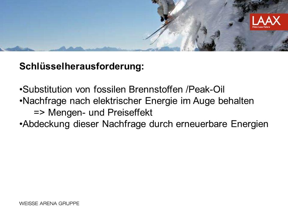 Schlüsselherausforderung: Substitution von fossilen Brennstoffen /Peak-Oil Nachfrage nach elektrischer Energie im Auge behalten =>Mengen- und Preiseff