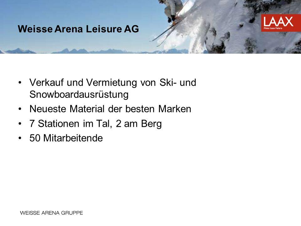 Verkauf und Vermietung von Ski- und Snowboardausrüstung Neueste Material der besten Marken 7 Stationen im Tal, 2 am Berg 50 Mitarbeitende Weisse Arena