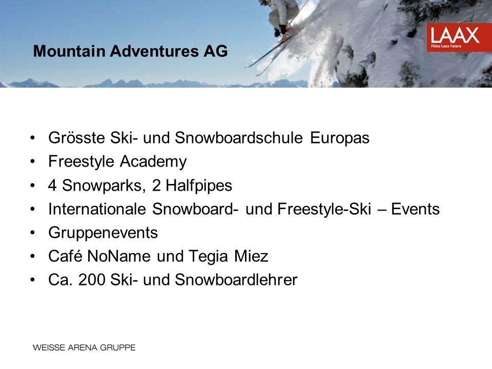 Grösste Ski- und Snowboardschule Europas Freestyle Academy 4 Snowparks, 2 Halfpipes Internationale Snowboard- und Freestyle-Ski – Events Gruppenevents