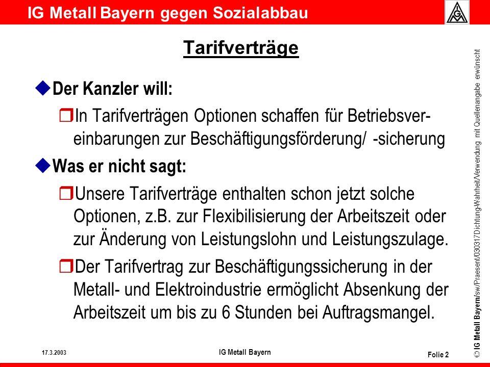 IG Metall Bayern gegen Sozialabbau © IG Metall Bayern/ sw/Praesent/030317Dichtung-Wahrheit/Verwendung mit Quellenangabe erwünscht 17.3.2003 IG Metall Bayern Folie 3 Tarifverträge u Der Kanzler will: rDeutlich mehr betriebliche Bündnisse für Arbeit durch die Tarifvertragsparteien.