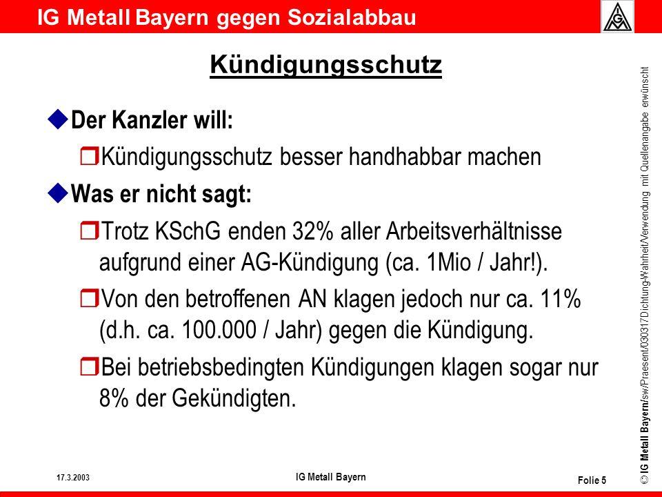 IG Metall Bayern gegen Sozialabbau © IG Metall Bayern/ sw/Praesent/030317Dichtung-Wahrheit/Verwendung mit Quellenangabe erwünscht 17.3.2003 IG Metall Bayern Folie 6 Kündigungsschutz u Der Kanzler will: rWahlrecht zwischen Klage auf Weiterbeschäftigung und Abfindung bei betriebsbedingten Kündigungen u Was er nicht sagt: rHeute erhalten nur rund 10% aller AN, deren Arbeitsverhältnis endet, eine Abfindung.