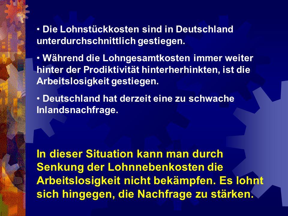 Die Lohnstückkosten sind in Deutschland unterdurchschnittlich gestiegen.