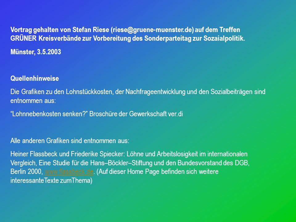 Vortrag gehalten von Stefan Riese (riese@gruene-muenster.de) auf dem Treffen GRÜNER Kreisverbände zur Vorbereitung des Sonderparteitag zur Sozaialpolitik.