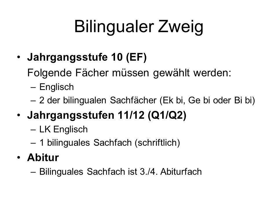Bilingualer Zweig Jahrgangsstufe 10 (EF) Folgende Fächer müssen gewählt werden: –Englisch –2 der bilingualen Sachfächer (Ek bi, Ge bi oder Bi bi) Jahr