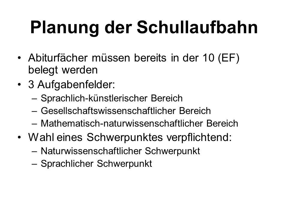 Planung der Schullaufbahn Abiturfächer müssen bereits in der 10 (EF) belegt werden 3 Aufgabenfelder: –Sprachlich-künstlerischer Bereich –Gesellschafts