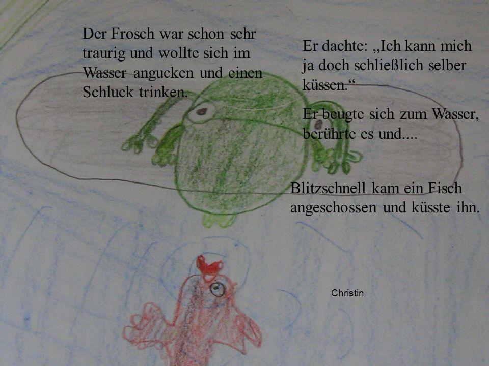 Christin Der Frosch war schon sehr traurig und wollte sich im Wasser angucken und einen Schluck trinken. Er dachte: Ich kann mich ja doch schließlich