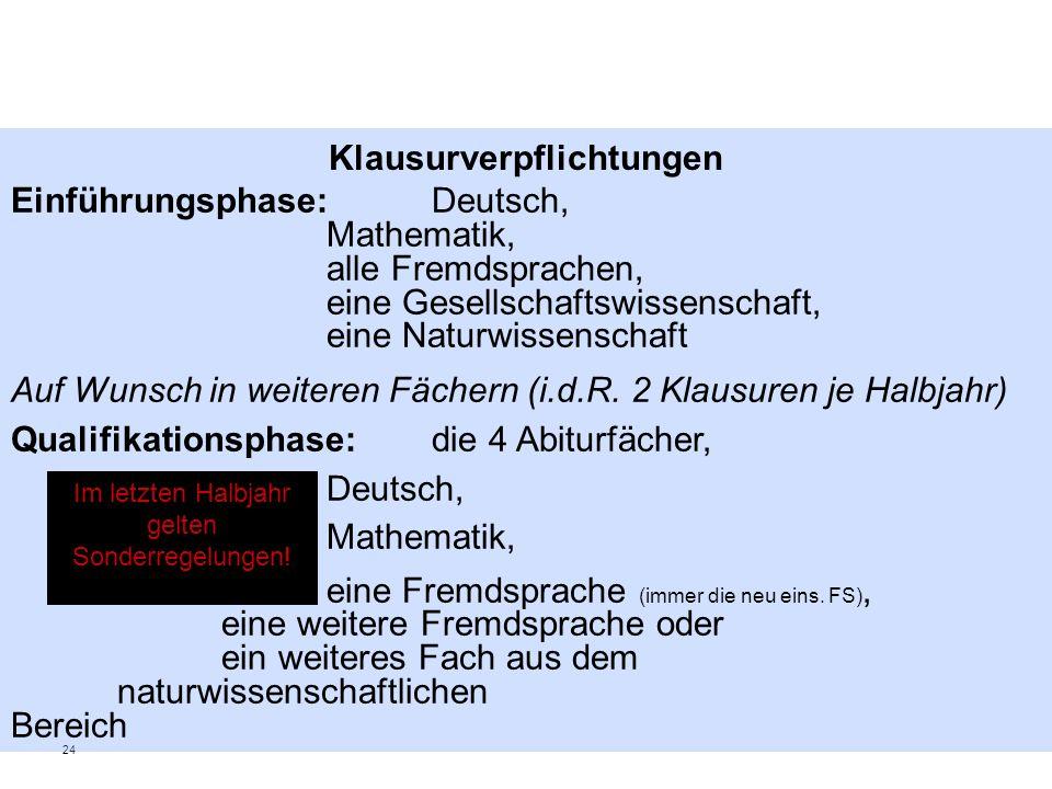 24 Klausurverpflichtungen Einführungsphase: Deutsch, Mathematik, alle Fremdsprachen, eine Gesellschaftswissenschaft, eine Naturwissenschaft Auf Wunsch in weiteren Fächern (i.d.R.