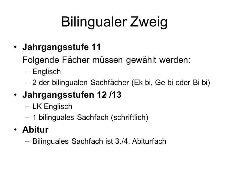 Bilingualer Zweig Jahrgangsstufe 11 Folgende Fächer müssen gewählt werden: –Englisch –2 der bilingualen Sachfächer (Ek bi, Ge bi oder Bi bi) Jahrgangsstufen 12 /13 –LK Englisch –1 bilinguales Sachfach (schriftlich) Abitur –Bilinguales Sachfach ist 3./4.