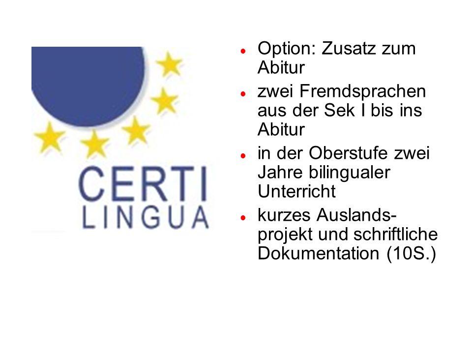 Option: Zusatz zum Abitur zwei Fremdsprachen aus der Sek I bis ins Abitur in der Oberstufe zwei Jahre bilingualer Unterricht kurzes Auslands- projekt und schriftliche Dokumentation (10S.)