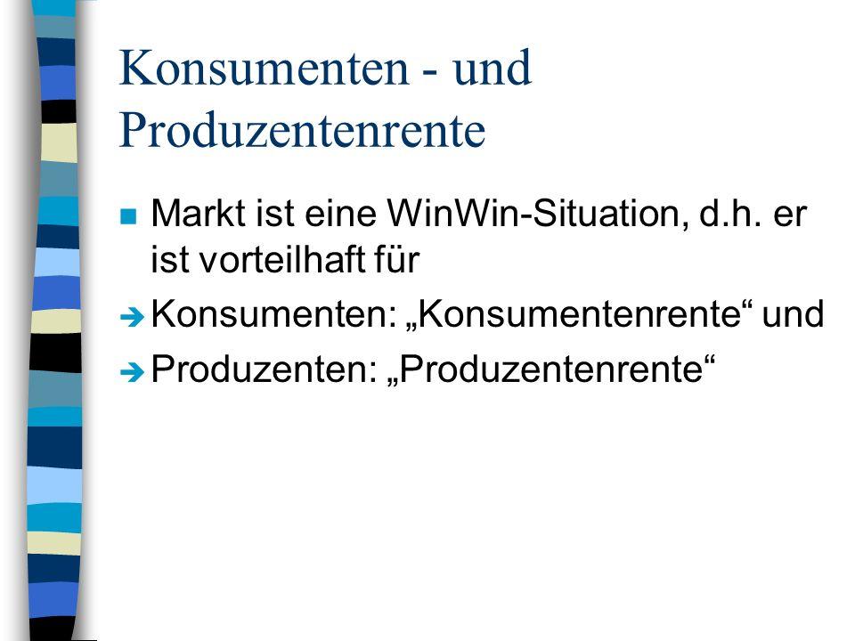 Konsumenten - und Produzentenrente n Markt ist eine WinWin-Situation, d.h.