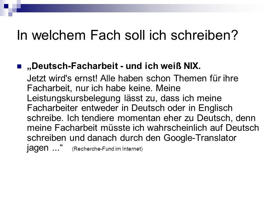 In welchem Fach soll ich schreiben? Deutsch-Facharbeit - und ich weiß NIX. Jetzt wird's ernst! Alle haben schon Themen für ihre Facharbeit, nur ich ha