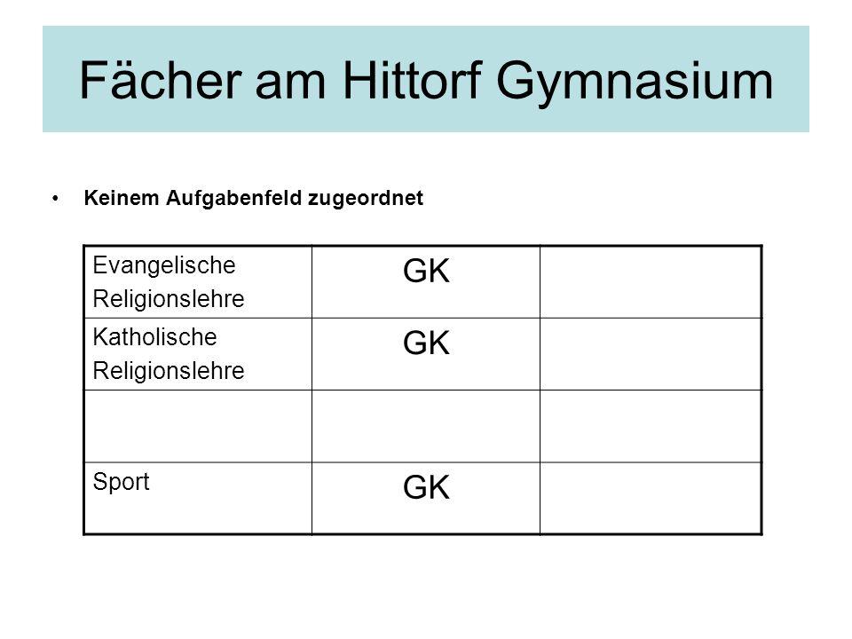 Fächer am Hittorf Gymnasium Keinem Aufgabenfeld zugeordnet Evangelische Religionslehre GK Katholische Religionslehre GK Sport GK