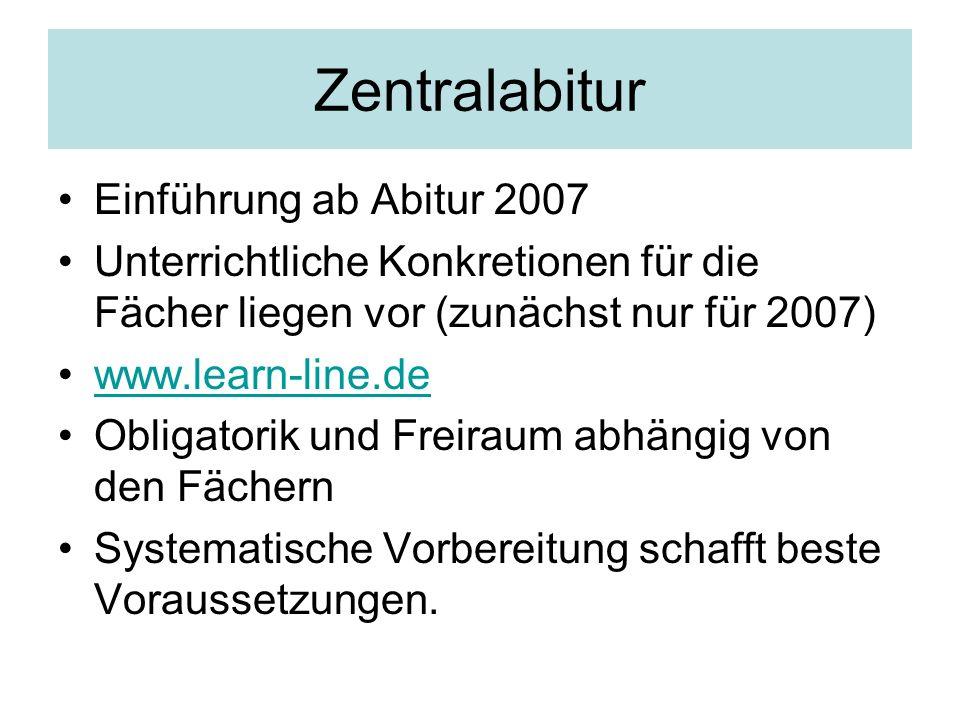 Zentralabitur Einführung ab Abitur 2007 Unterrichtliche Konkretionen für die Fächer liegen vor (zunächst nur für 2007) www.learn-line.de Obligatorik u