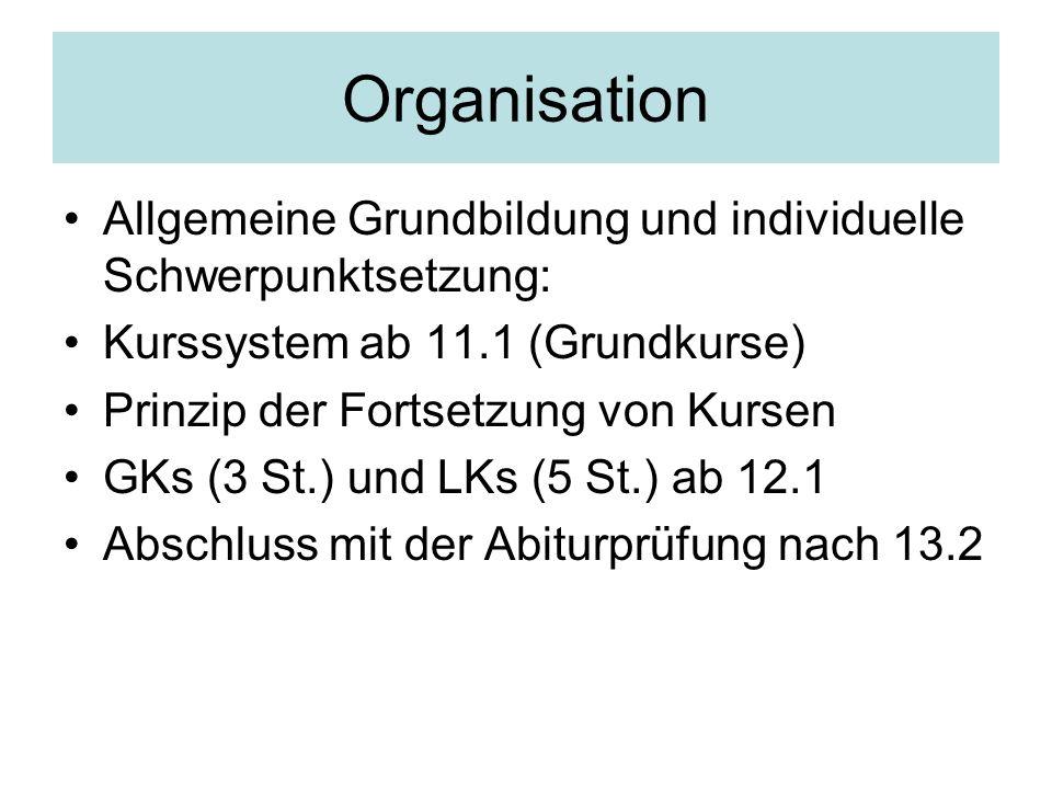 Organisation Allgemeine Grundbildung und individuelle Schwerpunktsetzung: Kurssystem ab 11.1 (Grundkurse) Prinzip der Fortsetzung von Kursen GKs (3 St