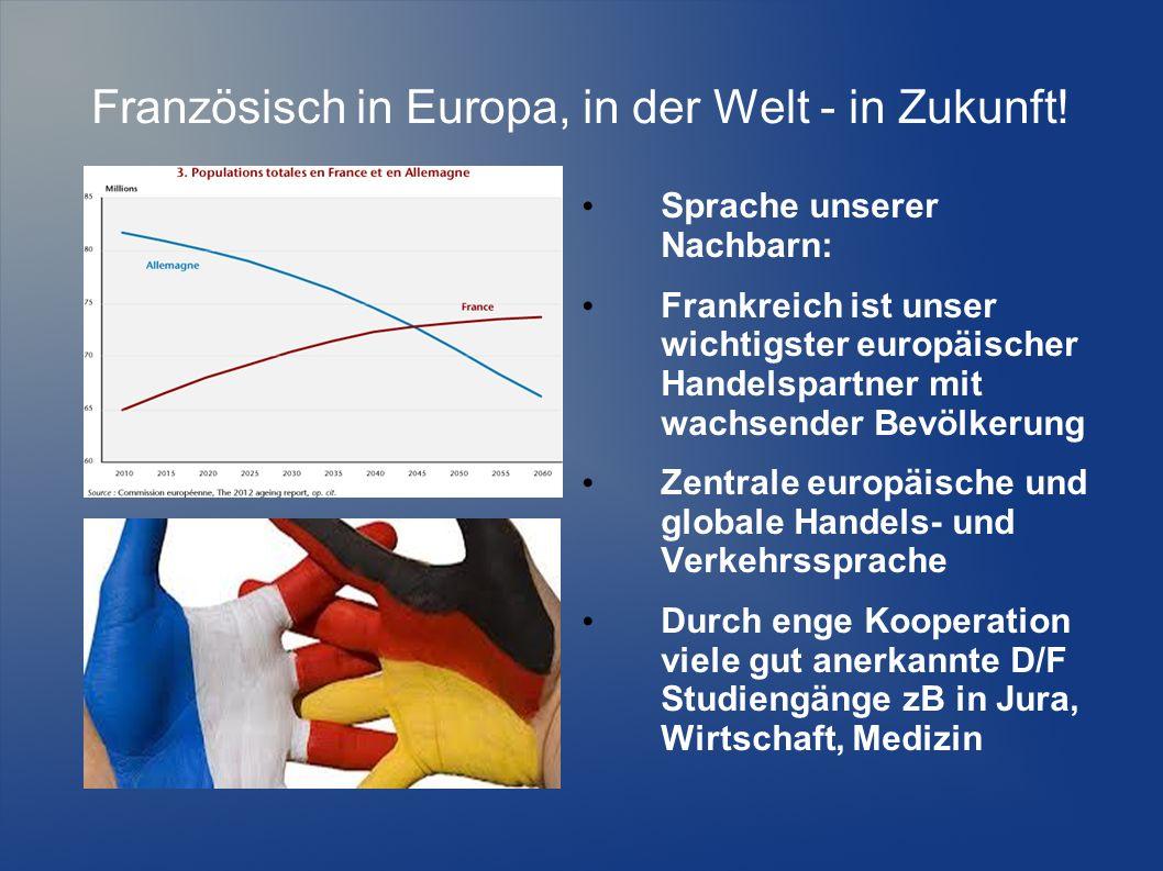 Französisch in Europa, in der Welt - in Zukunft! Sprache unserer Nachbarn: Frankreich ist unser wichtigster europäischer Handelspartner mit wachsender