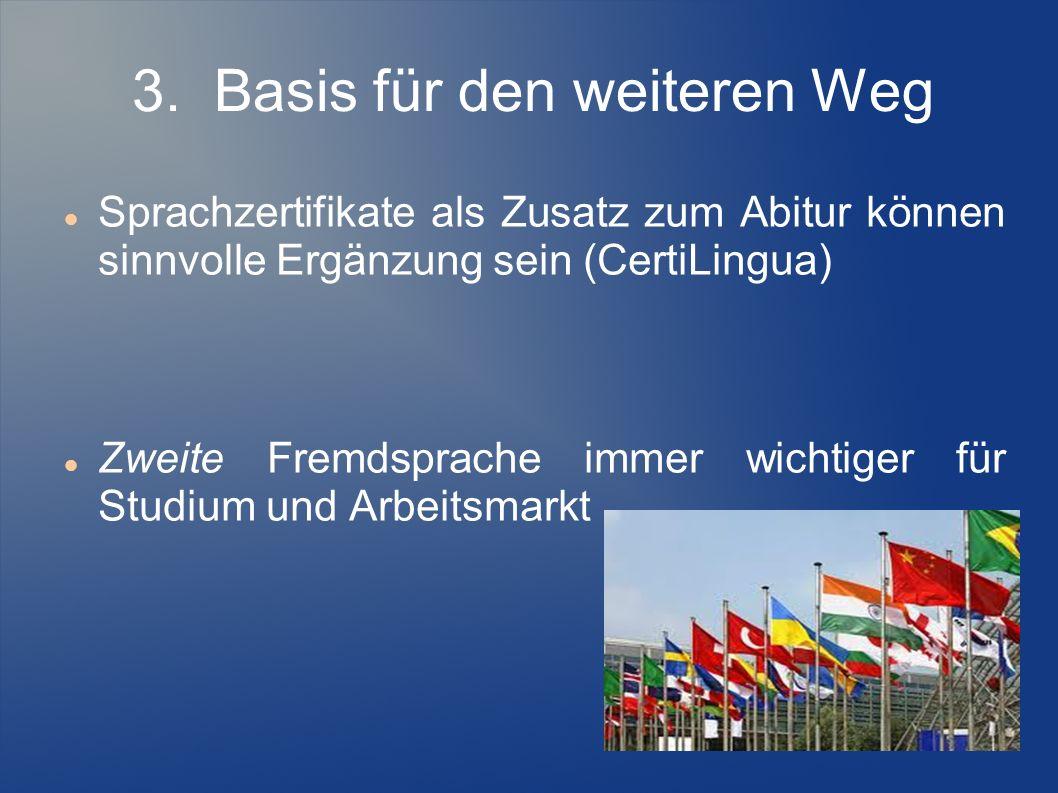 3. Basis für den weiteren Weg Sprachzertifikate als Zusatz zum Abitur können sinnvolle Ergänzung sein (CertiLingua) Zweite Fremdsprache immer wichtige