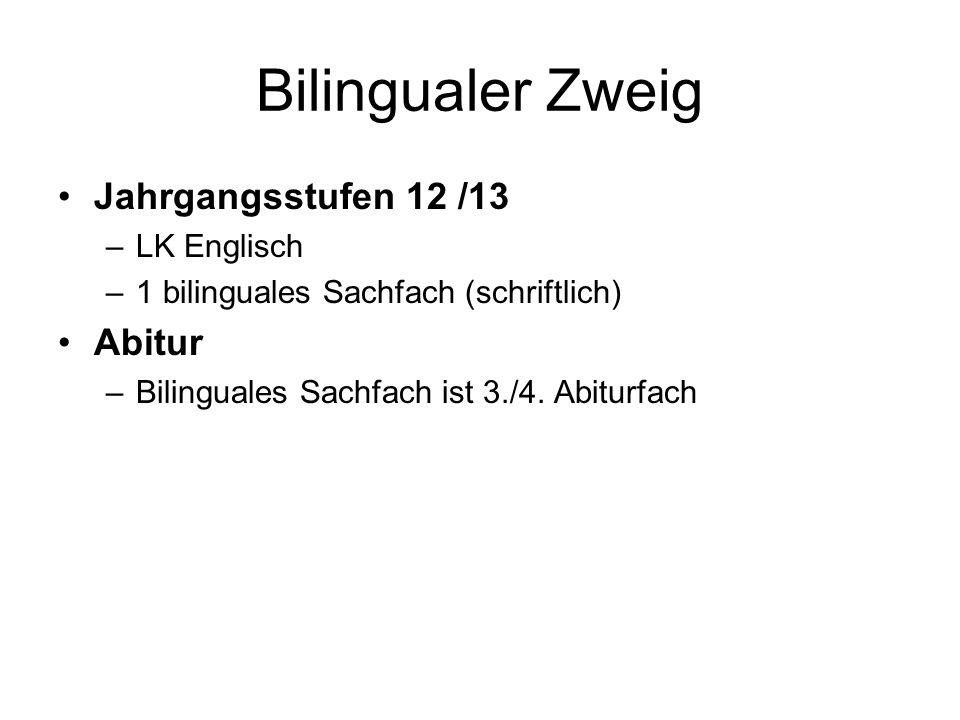 Bilingualer Zweig Jahrgangsstufen 12 /13 –LK Englisch –1 bilinguales Sachfach (schriftlich) Abitur –Bilinguales Sachfach ist 3./4.