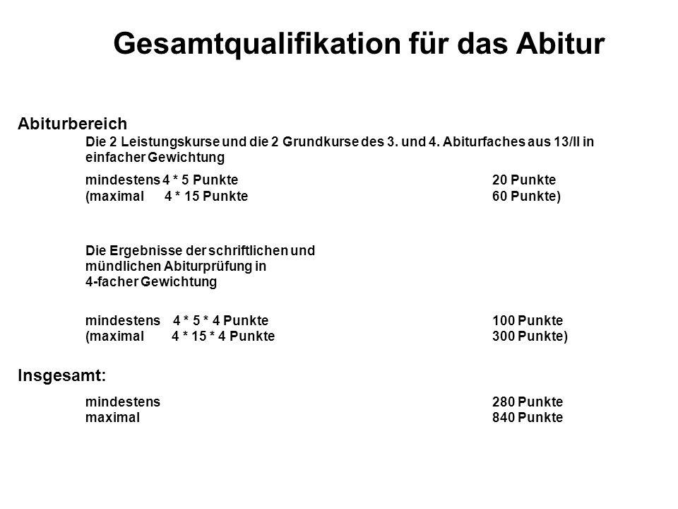 Abiturbereich Die 2 Leistungskurse und die 2 Grundkurse des 3.