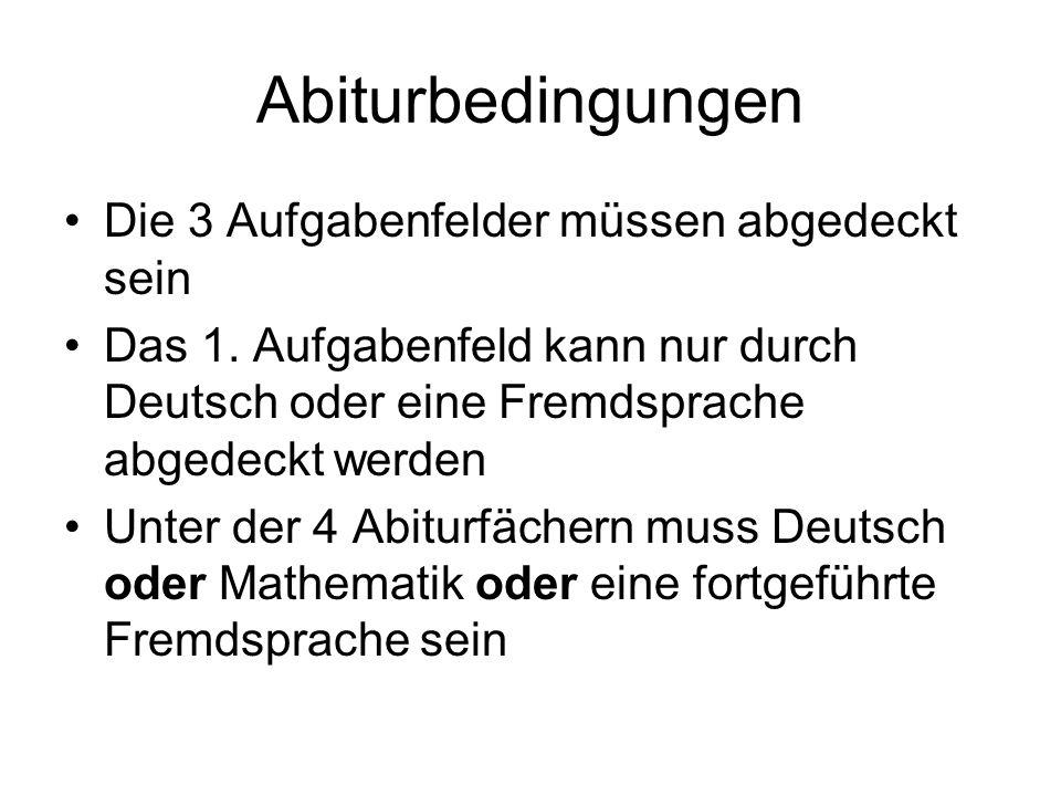Abiturbedingungen Die 3 Aufgabenfelder müssen abgedeckt sein Das 1.