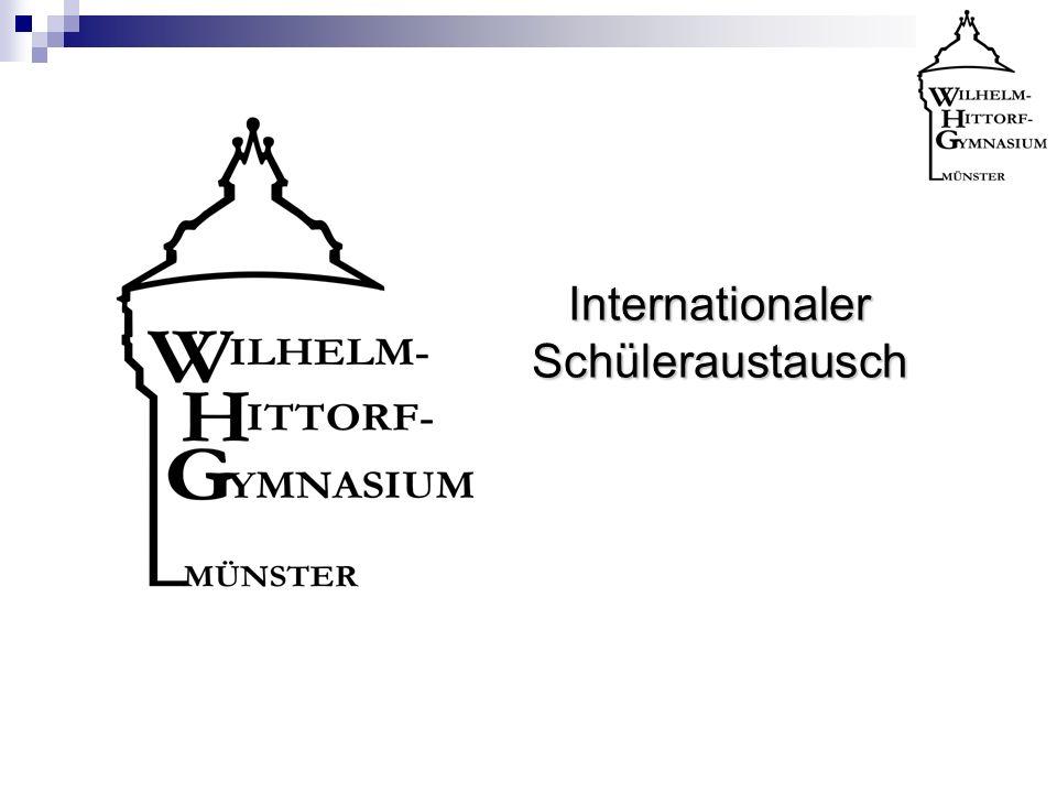 Programm in Münster (Teil 3) Beispiel für einen Unterrichttag: 1.Std: Begrüßung am WHG (Stundenplan/Räumlichkeiten/Organisatorisches) 2.